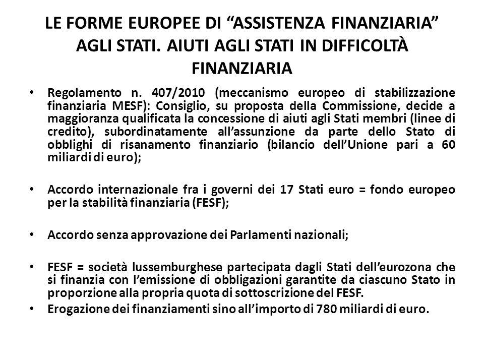 """LE FORME EUROPEE DI """"ASSISTENZA FINANZIARIA"""" AGLI STATI. AIUTI AGLI STATI IN DIFFICOLTÀ FINANZIARIA Regolamento n. 407/2010 (meccanismo europeo di sta"""
