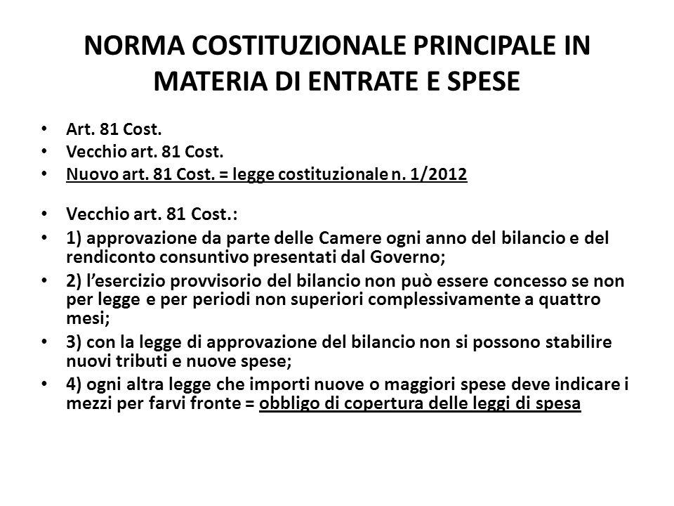 NORMA COSTITUZIONALE PRINCIPALE IN MATERIA DI ENTRATE E SPESE Art. 81 Cost. Vecchio art. 81 Cost. Nuovo art. 81 Cost. = legge costituzionale n. 1/2012