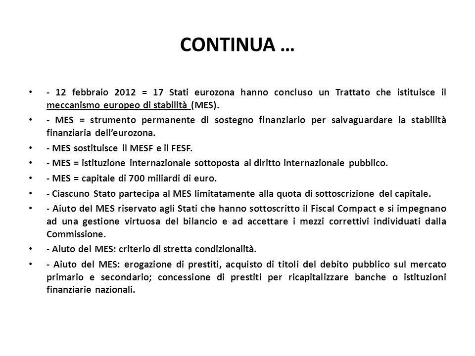 CONTINUA … - 12 febbraio 2012 = 17 Stati eurozona hanno concluso un Trattato che istituisce il meccanismo europeo di stabilità (MES). - MES = strument
