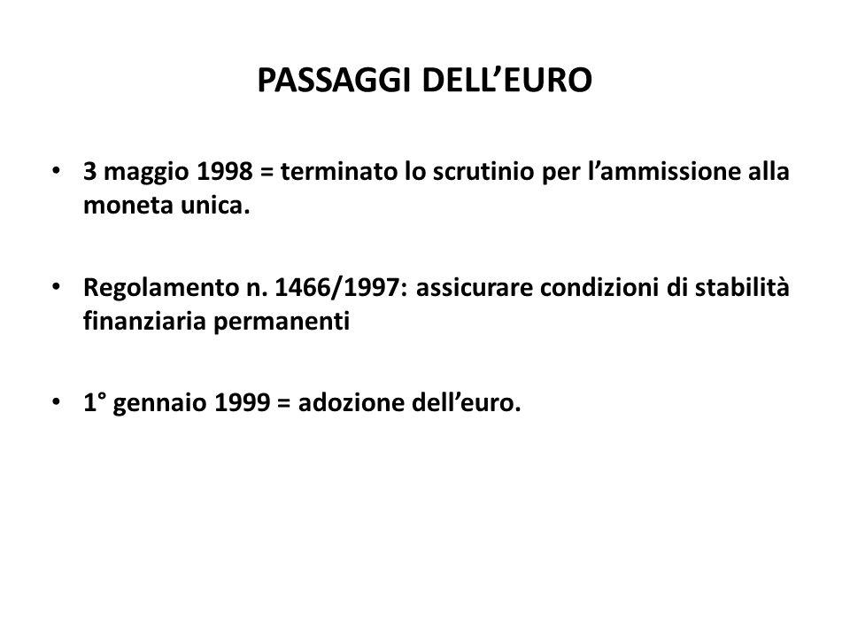 PASSAGGI DELL'EURO 3 maggio 1998 = terminato lo scrutinio per l'ammissione alla moneta unica. Regolamento n. 1466/1997: assicurare condizioni di stabi