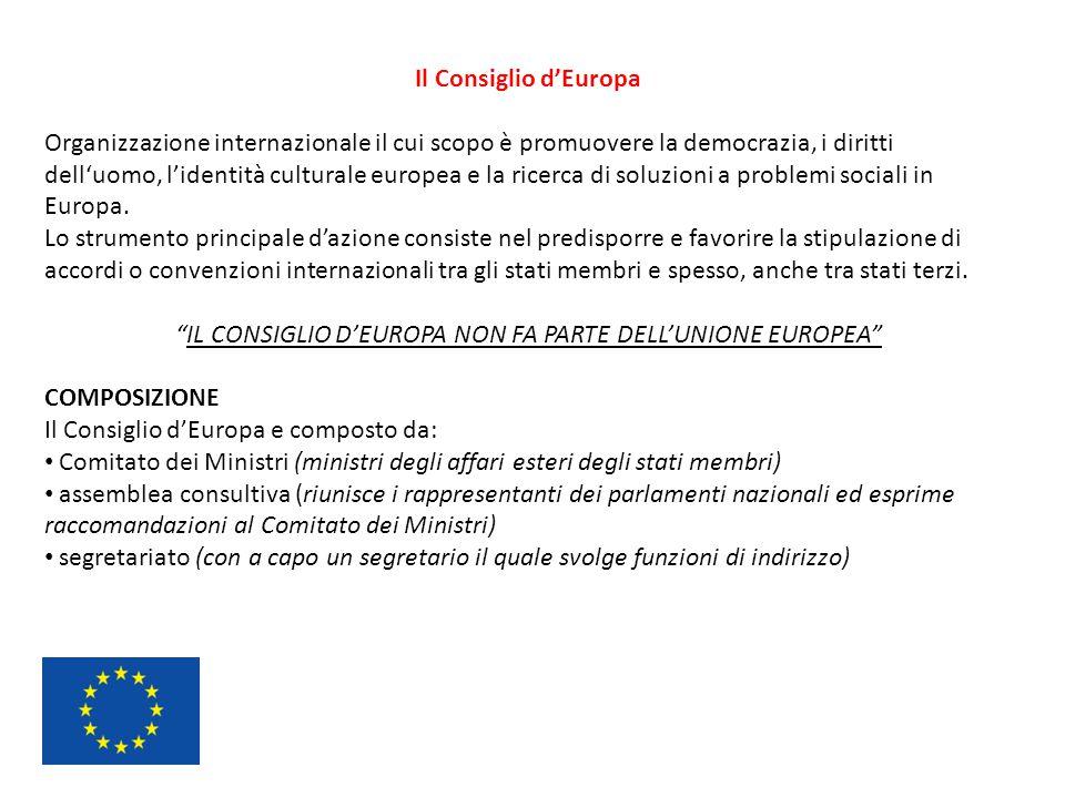 Il Consiglio d'Europa Organizzazione internazionale il cui scopo è promuovere la democrazia, i diritti dell'uomo, l'identità culturale europea e la ri