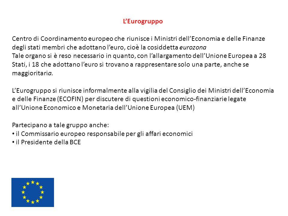 L'Eurogruppo Centro di Coordinamento europeo che riunisce i Ministri dell'Economia e delle Finanze degli stati membri che adottano l'euro, cioè la cos