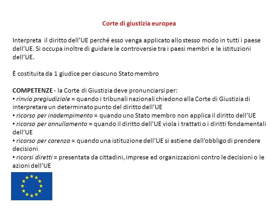 Corte di giustizia europea Interpreta il diritto dell'UE perché esso venga applicato allo stesso modo in tutti i paese dell'UE. Si occupa inoltre di g