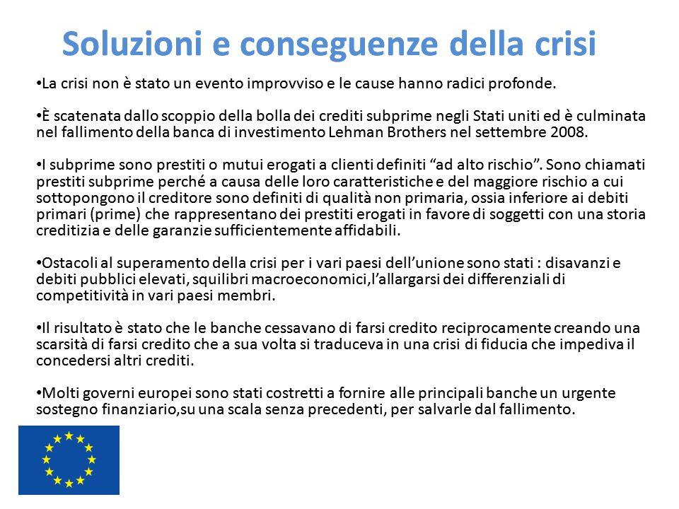 Soluzioni e conseguenze della crisi La crisi non è stato un evento improvviso e le cause hanno radici profonde. È scatenata dallo scoppio della bolla