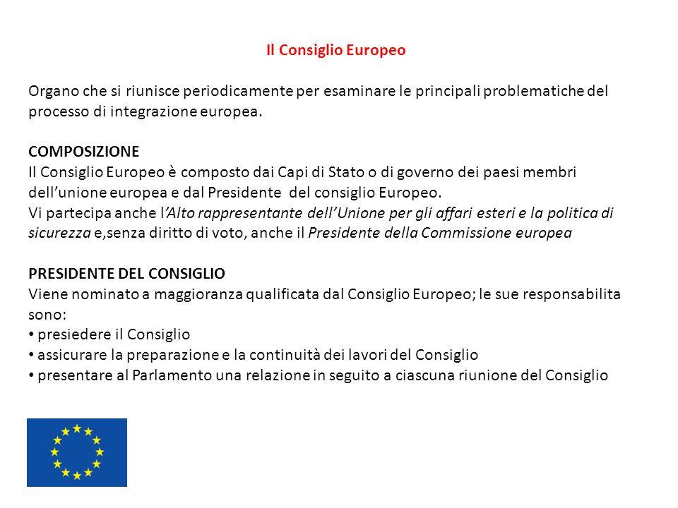 Il Consiglio Europeo Organo che si riunisce periodicamente per esaminare le principali problematiche del processo di integrazione europea. COMPOSIZION