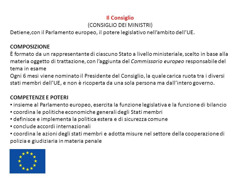 Il Consiglio (CONSIGLIO DEI MINISTRI) Detiene,con il Parlamento europeo, il potere legislativo nell'ambito dell'UE. COMPOSIZIONE È formato da un rappr