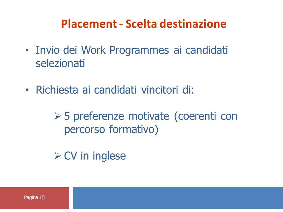 Pagina 15 Placement - Scelta destinazione Invio dei Work Programmes ai candidati selezionati Richiesta ai candidati vincitori di:  5 preferenze motivate (coerenti con percorso formativo)  CV in inglese