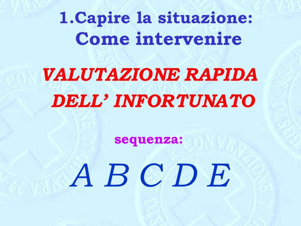 1.Capire la situazione: Come intervenire VALUTAZIONE RAPIDA DELL' INFORTUNATO sequenza: A B C D E