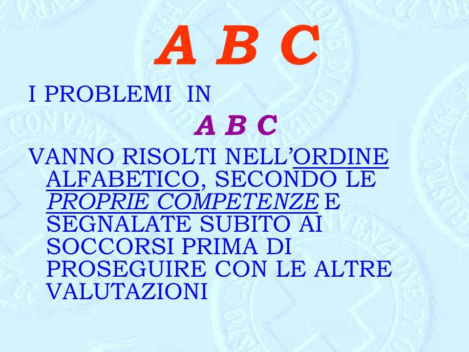 A B C I PROBLEMI IN A B C VANNO RISOLTI NELL'ORDINE ALFABETICO, SECONDO LE PROPRIE COMPETENZE E SEGNALATE SUBITO AI SOCCORSI PRIMA DI PROSEGUIRE CON L