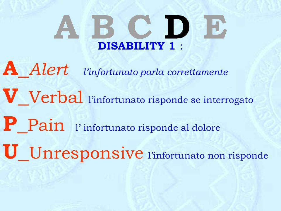 A B C D E DISABILITY 1 : A_ Alert l'infortunato parla correttamente V_ Verbal l'infortunato risponde se interrogato P_ Pain l' infortunato risponde al