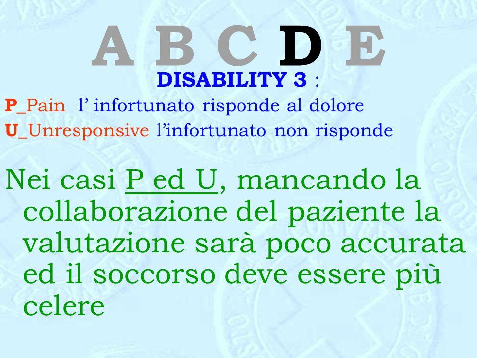 A B C D E DISABILITY 3 : P_ Pain l' infortunato risponde al dolore U_ Unresponsive l'infortunato non risponde Nei casi P ed U, mancando la collaborazi