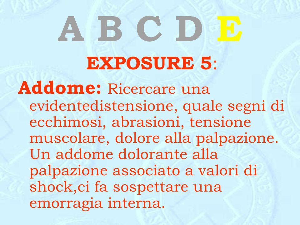 A B C D E EXPOSURE 5 : Addome: Ricercare una evidentedistensione, quale segni di ecchimosi, abrasioni, tensione muscolare, dolore alla palpazione. Un