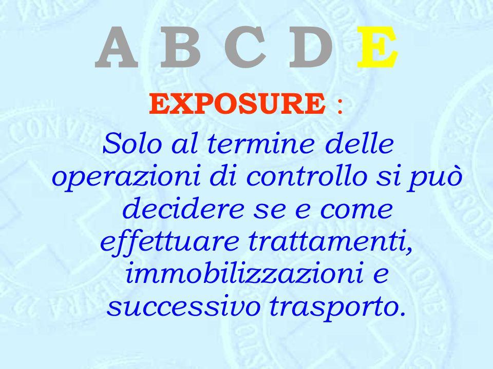 A B C D E EXPOSURE : Solo al termine delle operazioni di controllo si può decidere se e come effettuare trattamenti, immobilizzazioni e successivo tra