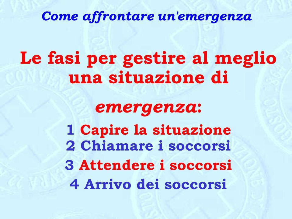 Come affrontare un'emergenza Le fasi per gestire al meglio una situazione di emergenza : 1 Capire la situazione 2 Chiamare i soccorsi 3 Attendere i so