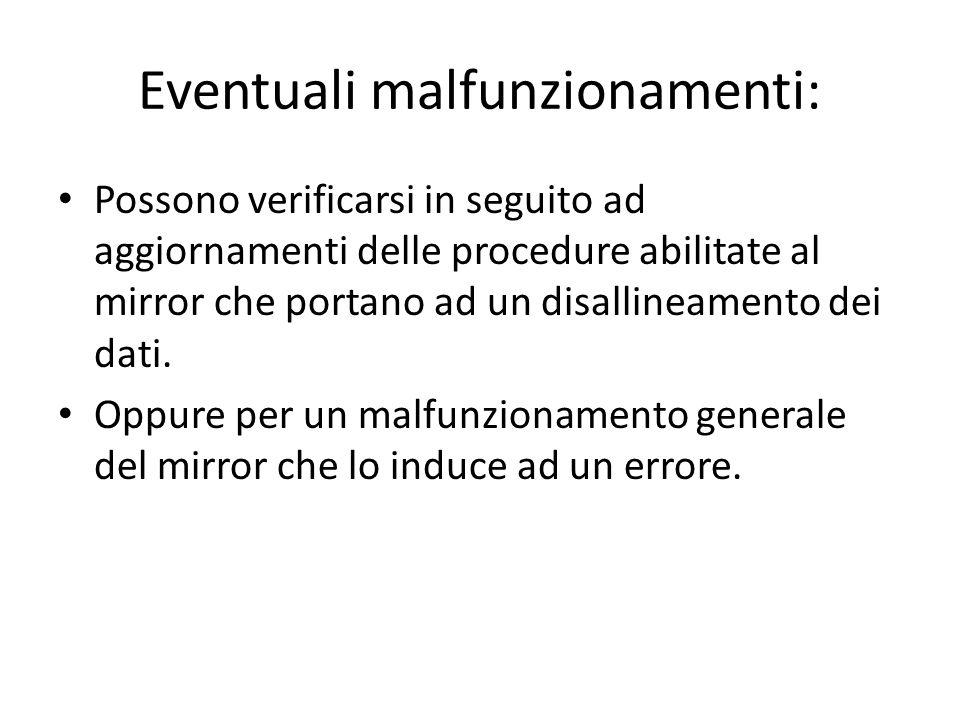Eventuali malfunzionamenti: Possono verificarsi in seguito ad aggiornamenti delle procedure abilitate al mirror che portano ad un disallineamento dei