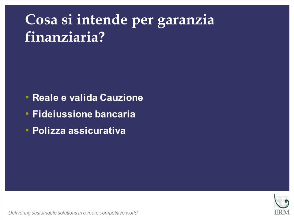 Delivering sustainable solutions in a more competitive world Scopo Garanzie Finanziarie DLgs 152/06 – Manca la definizione DLgs 36/03, art.