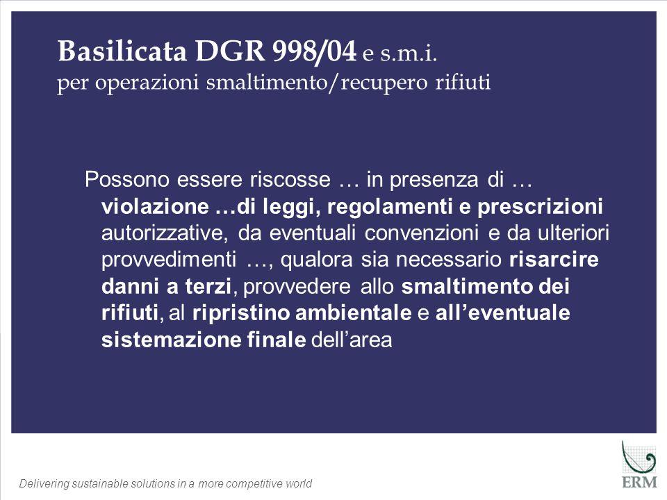 Delivering sustainable solutions in a more competitive world Il rischio ambientale è quindi un elemento fondamentale nella definizione del rischio legato al rilascio di garanzie finanziarie Sintesi