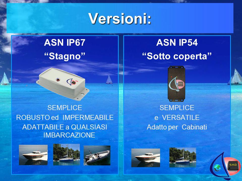 Versioni: ASN IP54 Sotto coperta SEMPLICE e VERSATILE Adatto per Cabinati ASN IP67 Stagno SEMPLICE ROBUSTO ed IMPERMEABILE ADATTABILE a QUALSIASI IMBARCAZIONE