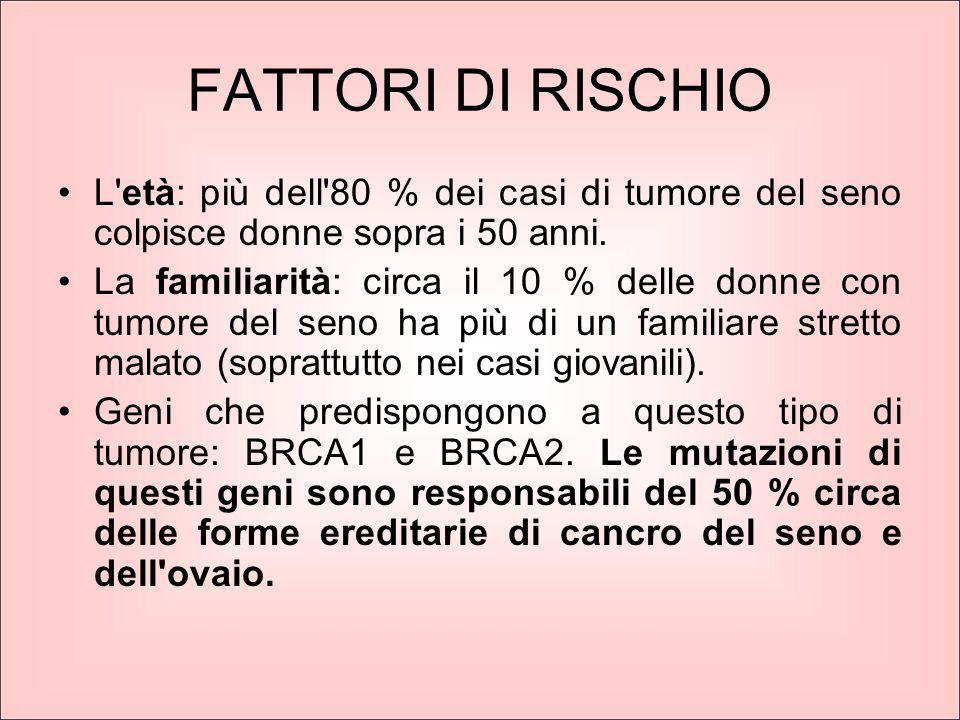 FATTORI DI RISCHIO L'età: più dell'80 % dei casi di tumore del seno colpisce donne sopra i 50 anni. La familiarità: circa il 10 % delle donne con tumo