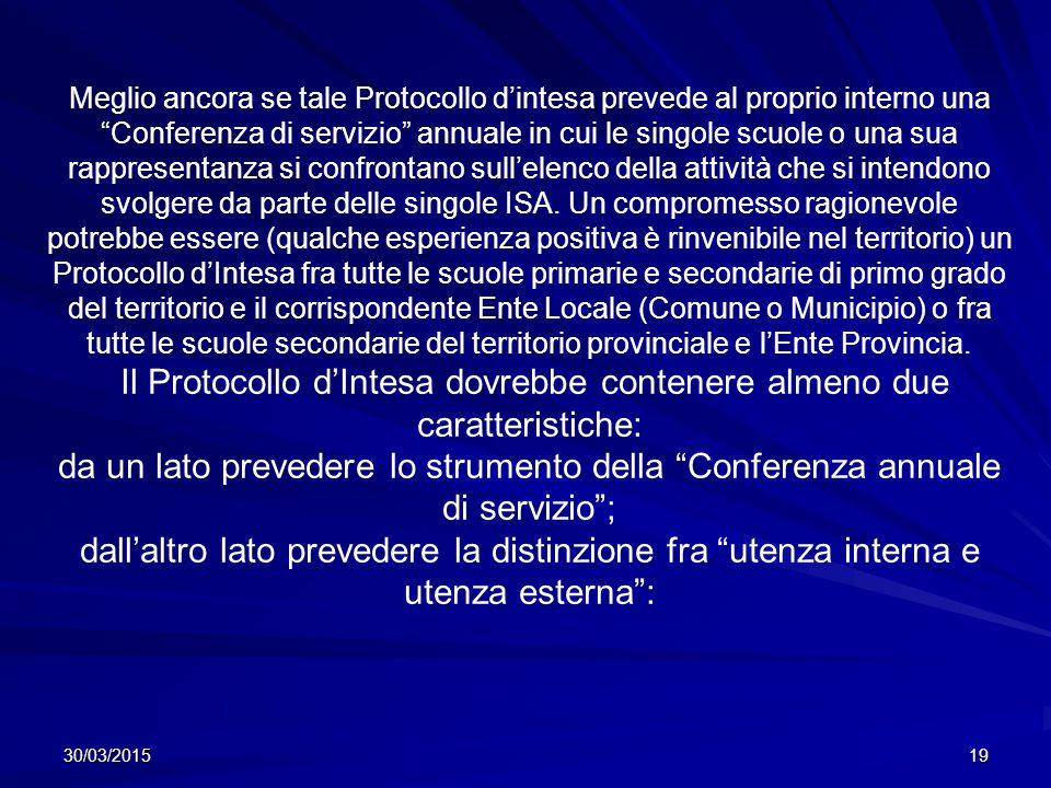 30/03/201519 Meglio ancora se tale Protocollo d'intesa prevede al proprio interno una Conferenza di servizio annuale in cui le singole scuole o una sua rappresentanza si confrontano sull'elenco della attività che si intendono svolgere da parte delle singole ISA.