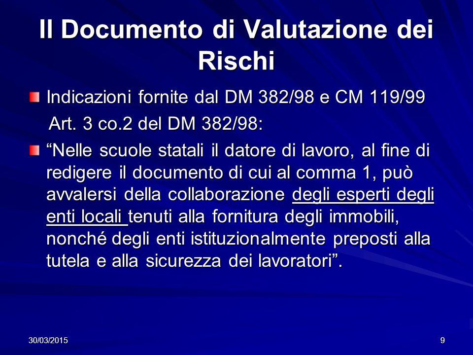 30/03/20159 Il Documento di Valutazione dei Rischi Indicazioni fornite dal DM 382/98 e CM 119/99 Art.