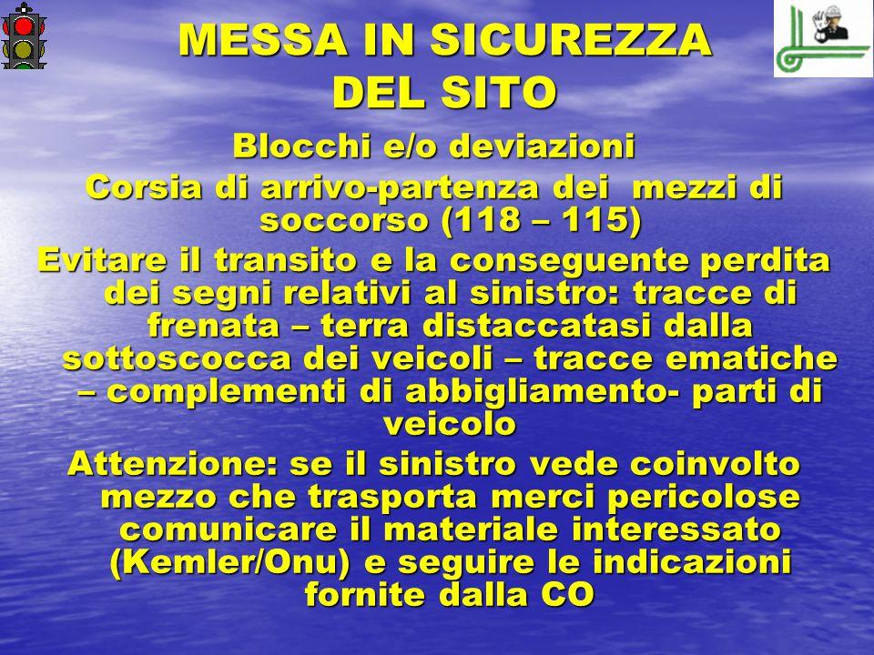 MESSA IN SICUREZZA DEL SITO Blocchi e/o deviazioni Corsia di arrivo-partenza dei mezzi di soccorso (118 – 115) Evitare il transito e la conseguente pe