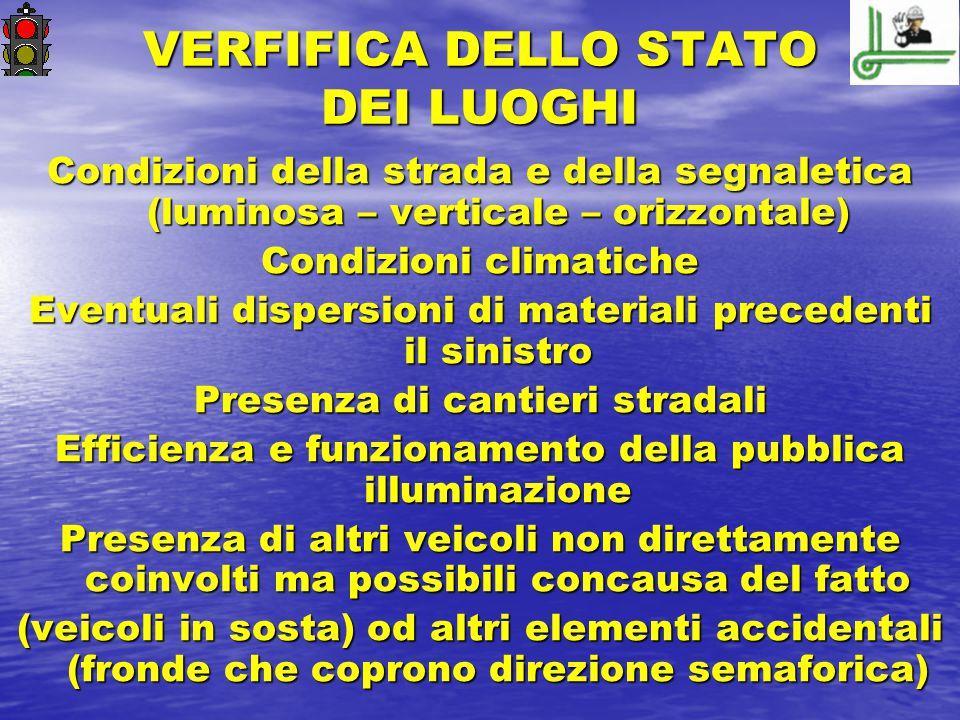 VERFIFICA DELLO STATO DEI LUOGHI Condizioni della strada e della segnaletica (luminosa – verticale – orizzontale) Condizioni climatiche Eventuali disp