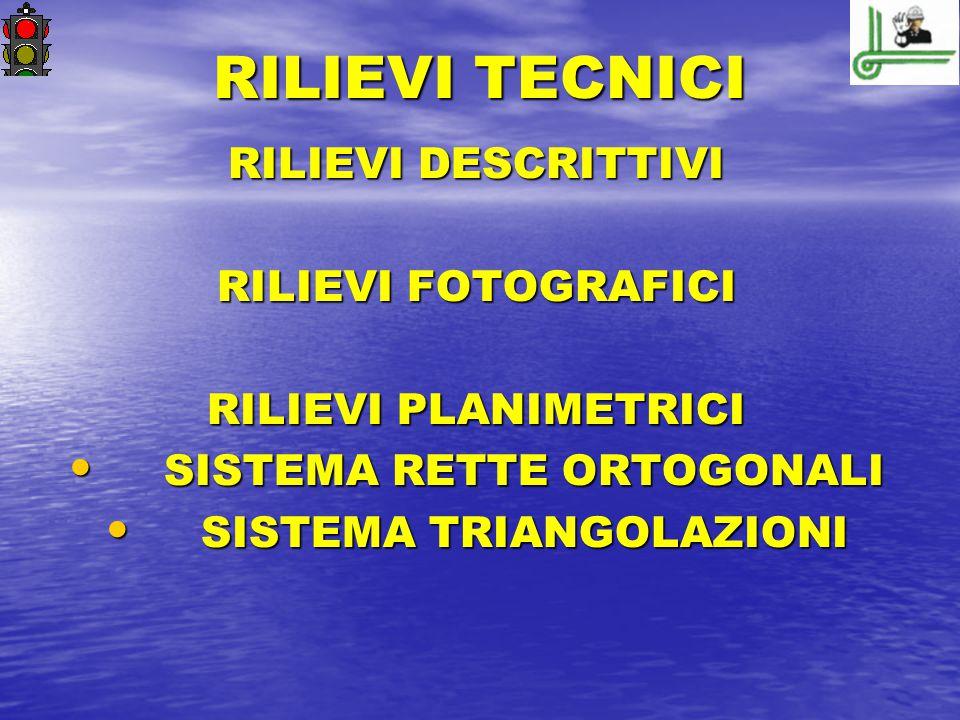 RILIEVI TECNICI RILIEVI DESCRITTIVI RILIEVI FOTOGRAFICI RILIEVI PLANIMETRICI SISTEMA RETTE ORTOGONALI SISTEMA RETTE ORTOGONALI SISTEMA TRIANGOLAZIONI