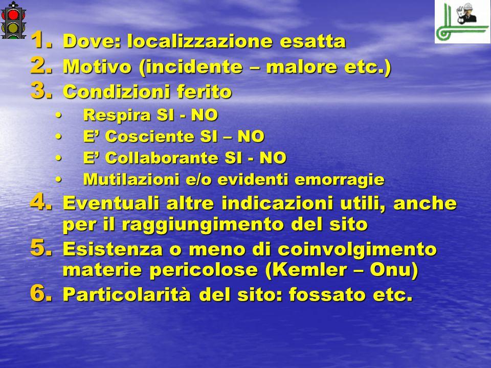 1. Dove: localizzazione esatta 2. Motivo (incidente – malore etc.) 3. Condizioni ferito Respira SI - NORespira SI - NO E' Cosciente SI – NOE' Coscient