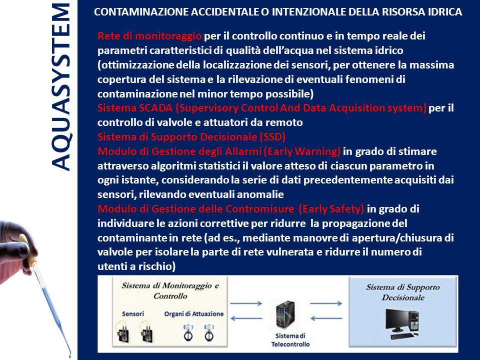 AQUASYSTEM CONTAMINAZIONE ACCIDENTALE O INTENZIONALE DELLA RISORSA IDRICA Rete di monitoraggio per il controllo continuo e in tempo reale dei parametri caratteristici di qualità dell'acqua nel sistema idrico (ottimizzazione della localizzazione dei sensori, per ottenere la massima copertura del sistema e la rilevazione di eventuali fenomeni di contaminazione nel minor tempo possibile) Sistema SCADA (Supervisory Control And Data Acquisition system) per il controllo di valvole e attuatori da remoto Sistema di Supporto Decisionale (SSD) Modulo di Gestione degli Allarmi (Early Warning) in grado di stimare attraverso algoritmi statistici il valore atteso di ciascun parametro in ogni istante, considerando la serie di dati precedentemente acquisiti dai sensori, rilevando eventuali anomalie Modulo di Gestione delle Contromisure (Early Safety) in grado di individuare le azioni correttive per ridurre la propagazione del contaminante in rete (ad es., mediante manovre di apertura/chiusura di valvole per isolare la parte di rete vulnerata e ridurre il numero di utenti a rischio)