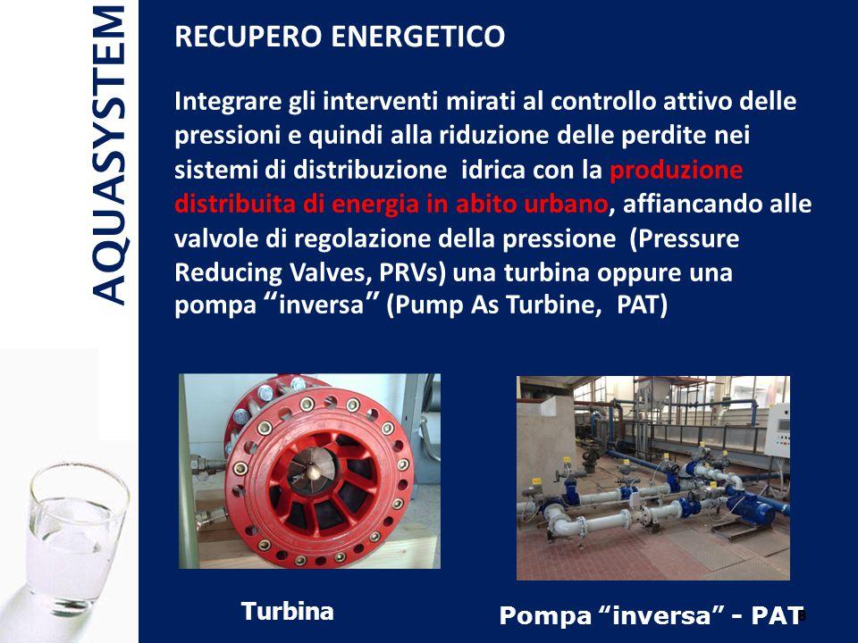 AQUASYSTEM 8 Integrare gli interventi mirati al controllo attivo delle pressioni e quindi alla riduzione delle perdite nei sistemi di distribuzione idrica con la produzione distribuita di energia in abito urbano, affiancando alle valvole di regolazione della pressione (Pressure Reducing Valves, PRVs) una turbina oppure una pompa inversa (Pump As Turbine, PAT) RECUPERO ENERGETICO Turbina Pompa inversa - PAT