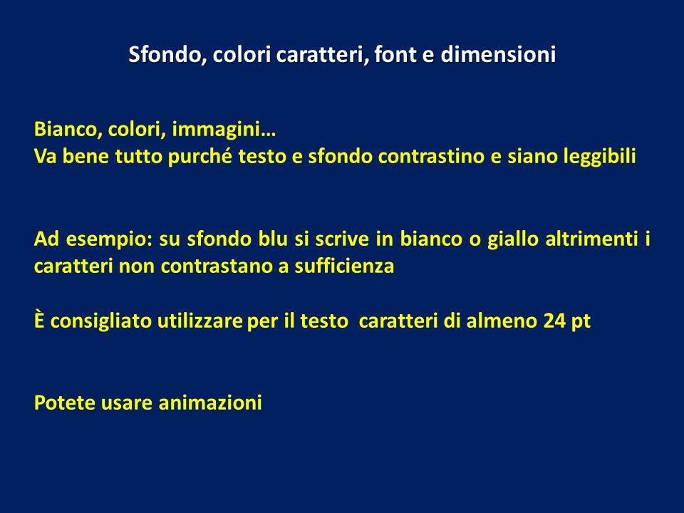 Bianco, colori, immagini… Va bene tutto purché testo e sfondo contrastino e siano leggibili Ad esempio: su sfondo blu si scrive in bianco o giallo alt