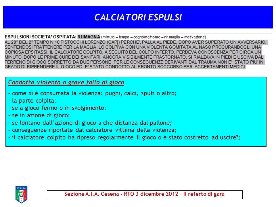 CALCIATORI ESPULSI Sezione A.I.A. Cesena - RTO 3 dicembre 2012 – Il referto di gara Condotta violenta o grave fallo di gioco - come si è consumata la