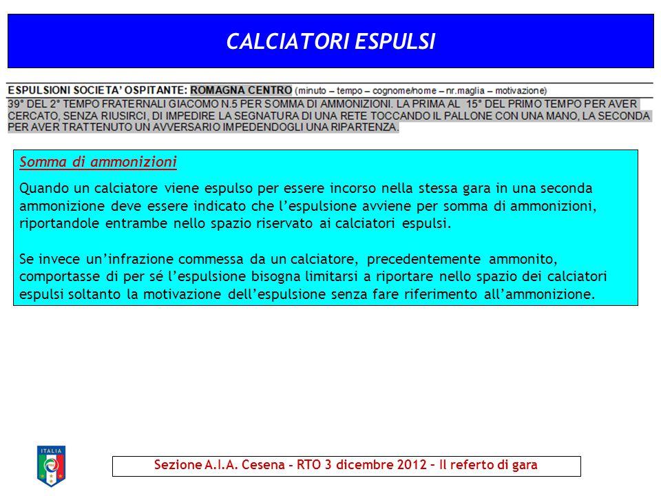 CALCIATORI ESPULSI Sezione A.I.A. Cesena - RTO 3 dicembre 2012 – Il referto di gara Somma di ammonizioni Quando un calciatore viene espulso per essere