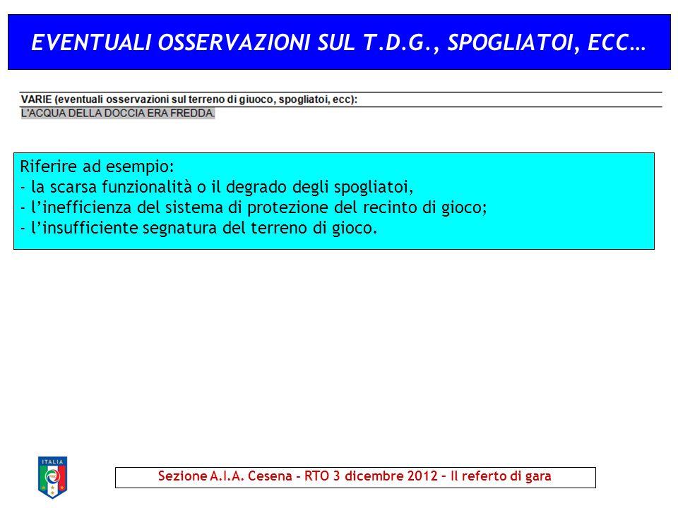 EVENTUALI OSSERVAZIONI SUL T.D.G., SPOGLIATOI, ECC… Sezione A.I.A. Cesena - RTO 3 dicembre 2012 – Il referto di gara Riferire ad esempio: - la scarsa