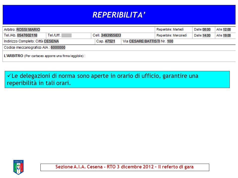 REPERIBILITA' Sezione A.I.A. Cesena - RTO 3 dicembre 2012 – Il referto di gara Le delegazioni di norma sono aperte in orario di ufficio, garantire una