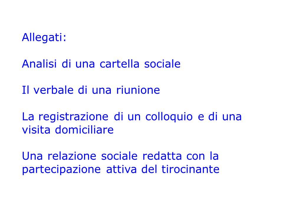 Allegati: Analisi di una cartella sociale Il verbale di una riunione La registrazione di un colloquio e di una visita domiciliare Una relazione social