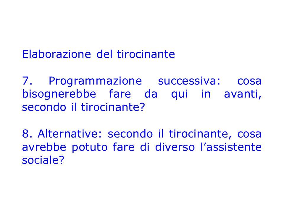 Elaborazione del tirocinante 7. Programmazione successiva: cosa bisognerebbe fare da qui in avanti, secondo il tirocinante? 8. Alternative: secondo il