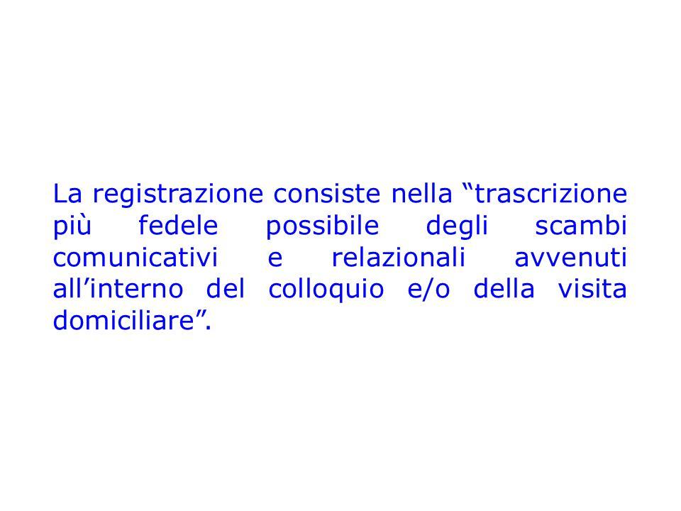 """La registrazione consiste nella """"trascrizione più fedele possibile degli scambi comunicativi e relazionali avvenuti all'interno del colloquio e/o dell"""