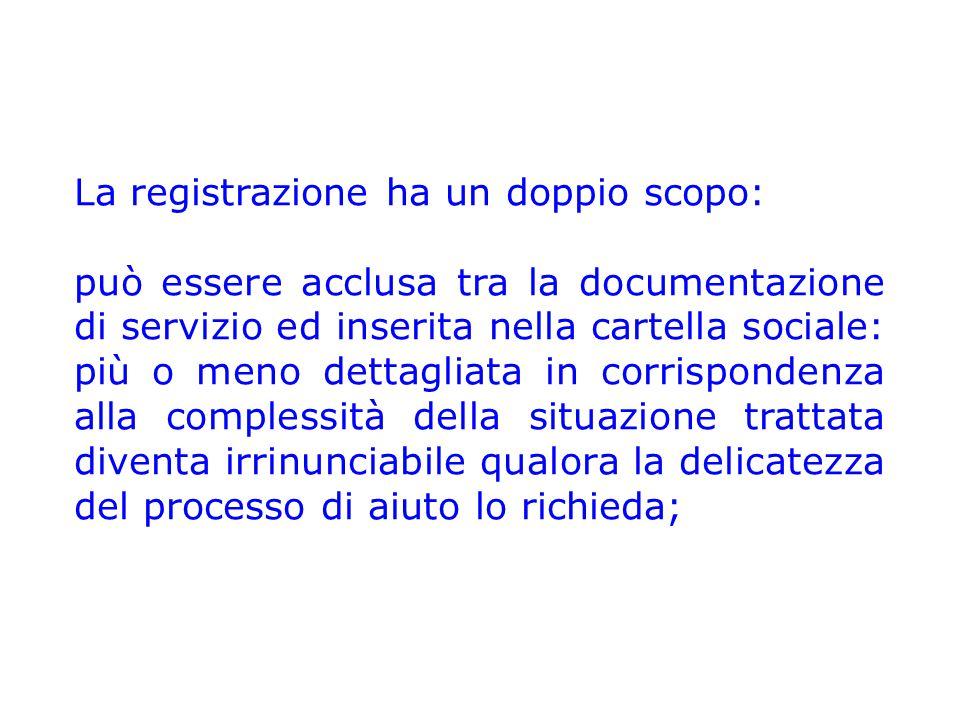La registrazione ha un doppio scopo: può essere acclusa tra la documentazione di servizio ed inserita nella cartella sociale: più o meno dettagliata i
