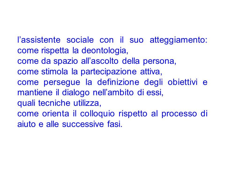 l'assistente sociale con il suo atteggiamento: come rispetta la deontologia, come da spazio all'ascolto della persona, come stimola la partecipazione