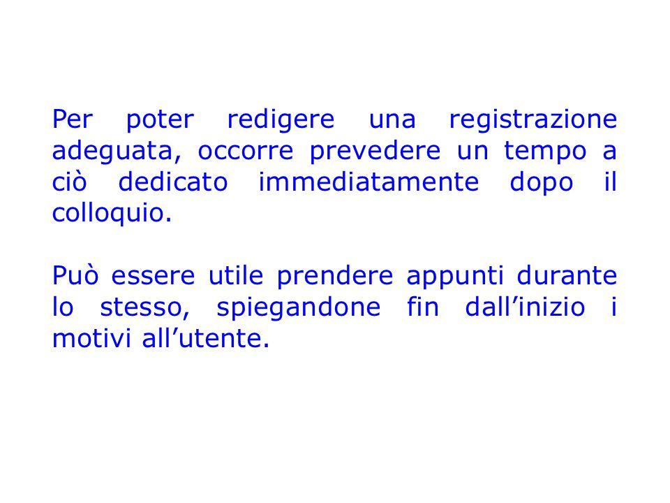 Per poter redigere una registrazione adeguata, occorre prevedere un tempo a ciò dedicato immediatamente dopo il colloquio. Può essere utile prendere a