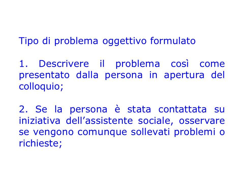Tipo di problema oggettivo formulato 1. Descrivere il problema così come presentato dalla persona in apertura del colloquio; 2. Se la persona è stata
