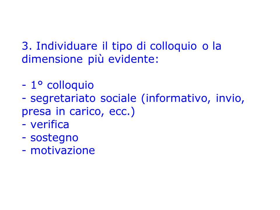 3. Individuare il tipo di colloquio o la dimensione più evidente: - 1° colloquio - segretariato sociale (informativo, invio, presa in carico, ecc.) -