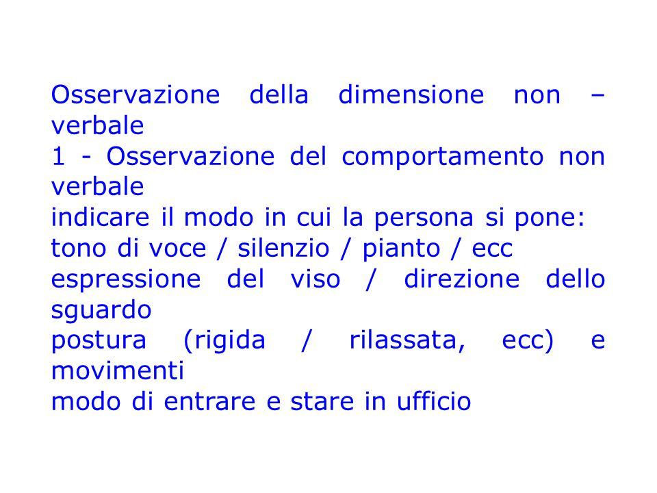 Osservazione della dimensione non – verbale 1 - Osservazione del comportamento non verbale indicare il modo in cui la persona si pone: tono di voce /