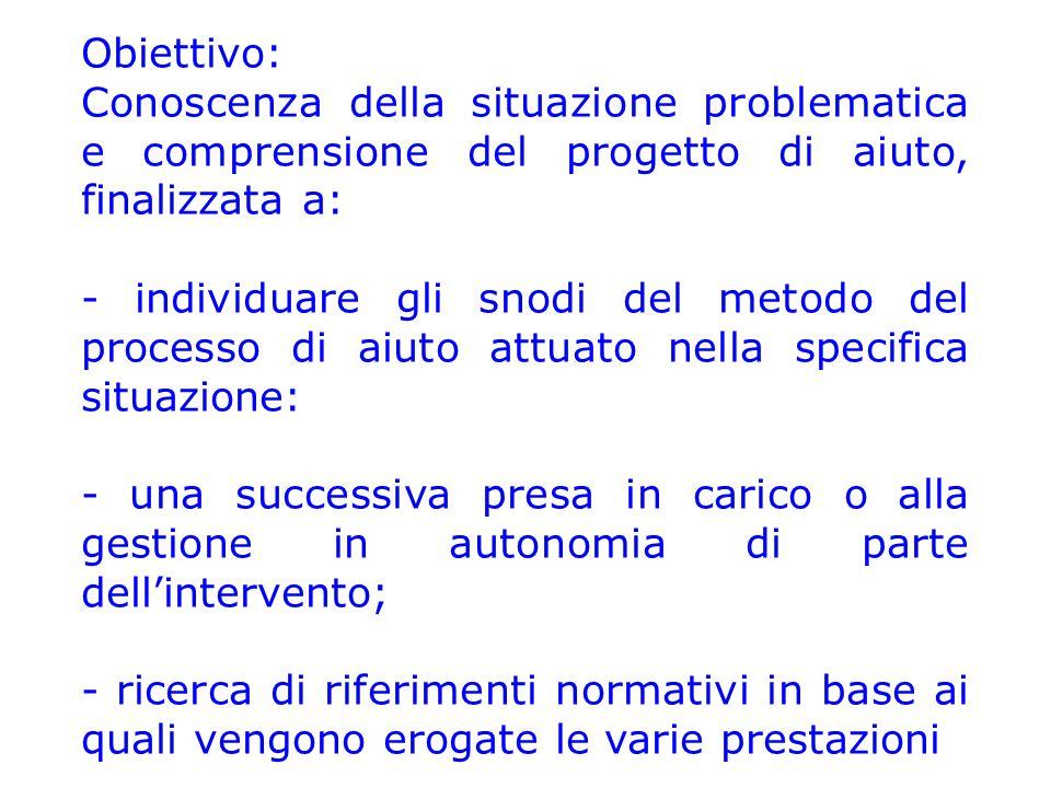 Obiettivo: Conoscenza della situazione problematica e comprensione del progetto di aiuto, finalizzata a: - individuare gli snodi del metodo del proces