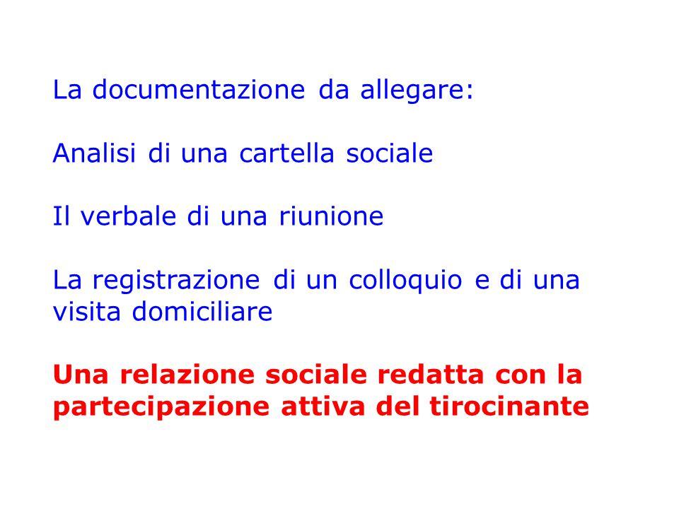 La documentazione da allegare: Analisi di una cartella sociale Il verbale di una riunione La registrazione di un colloquio e di una visita domiciliare
