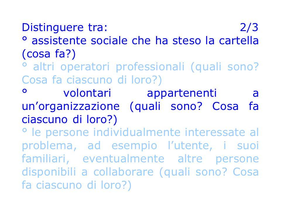 Distinguere tra: 2/3 ° assistente sociale che ha steso la cartella (cosa fa?) ° altri operatori professionali (quali sono? Cosa fa ciascuno di loro?)