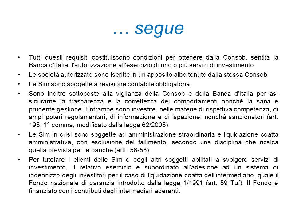 … segue Tutti questi requisiti costituiscono condizioni per ottenere dalla Consob, sentita la Banca d'Italia, l'autorizzazione all'esercizio di uno o