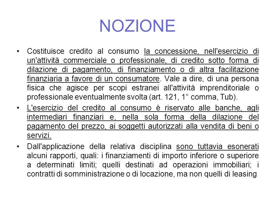 NOZIONE Costituisce credito al consumo la concessione, nell'esercizio di un'attività commerciale o professionale, di credito sotto forma di dilazione